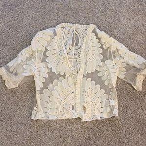 Sweaters - Sheer Flower Cardigan